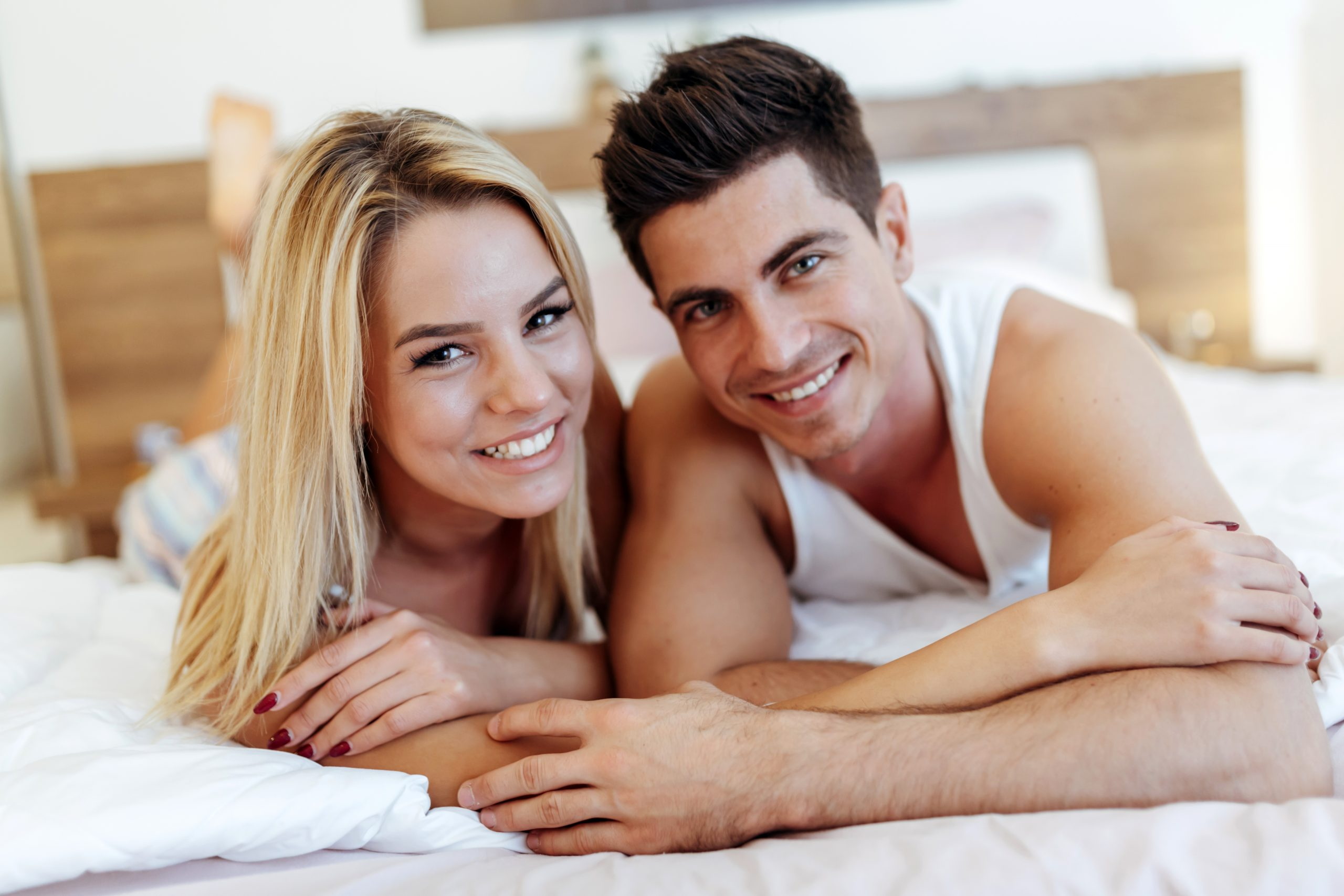 Happy husband loving wife